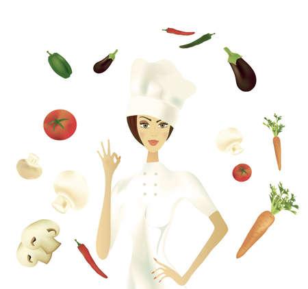 Chef showing Ok Gesture with Vegetables  Illustration  Banque d'images