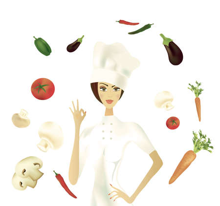 Chef showing Ok Gesture with Vegetables  Illustration  Stock Photo