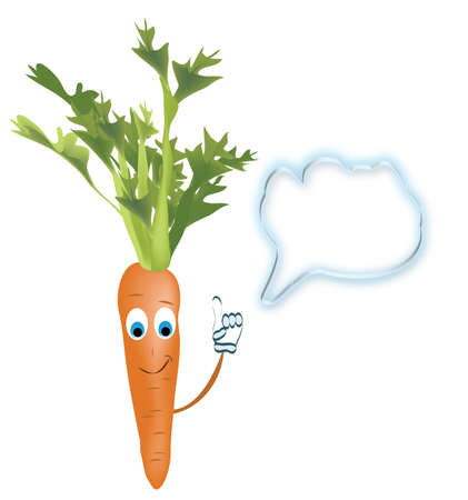 Talking Carrot  Animated  Vegetable with Speak Bubble