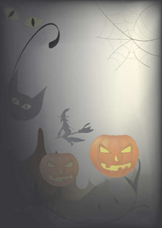 Halloween Day Celebration Card with Pumpkin  Vector