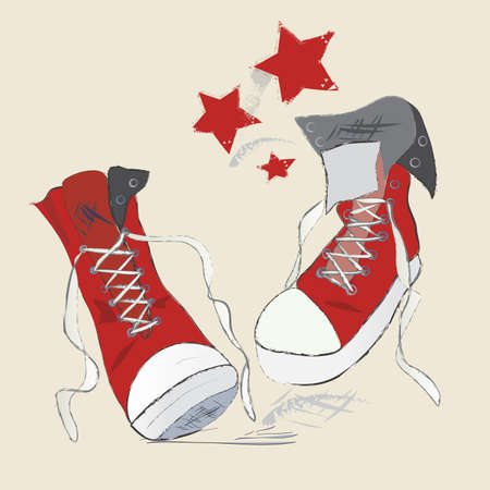 Canvas Shoes Sketch  Vector Graphic Pen Design of a Red Sneakers Vector
