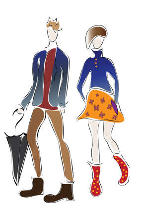 Illustration of a Boy and a Girl  Fashion Sketch of a Couple Friends  Vector of Man and a Woman