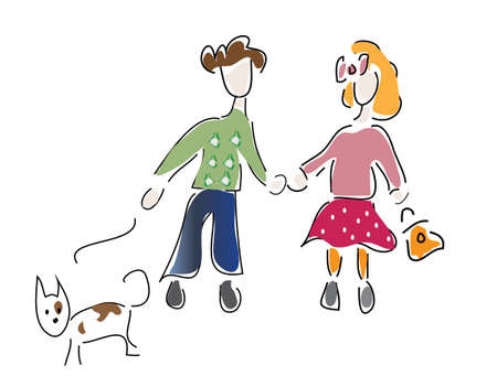 jack russell: Little Boy and a Girl with Dog  Two kids with Jack Russell Terrier on a walk