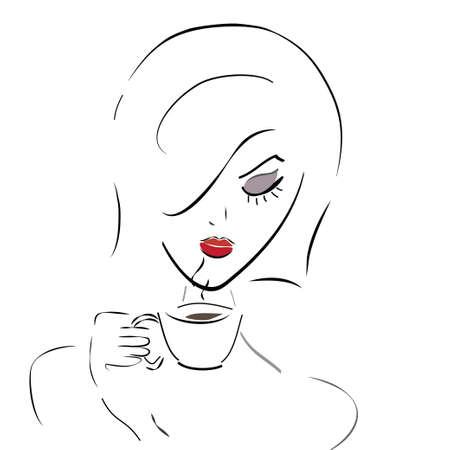 Girl with Coffee Cup or Tea  Vector of a Woman in a Cafe