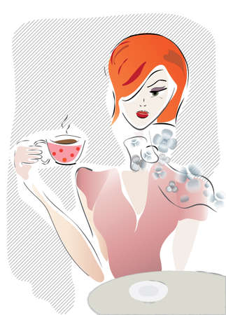 Girl with Coffee Cup or Tea  Vector of a Woman in a Cafe Vector