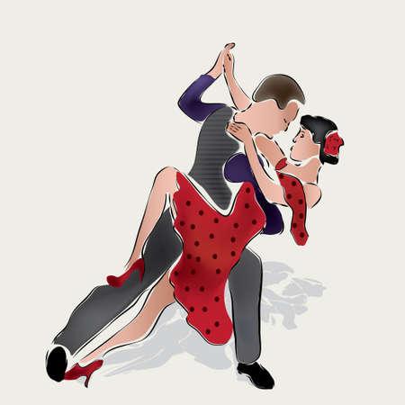 Latino Dancers  Merenge or Salsa Dancing Couple Illustration
