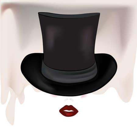 Donna s viso con cilindro di una bella ragazza con il cappello di seta Vettoriali