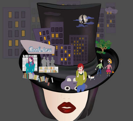 Woman with Cylinder with City Collage  Urban Night Background with Witch Vector