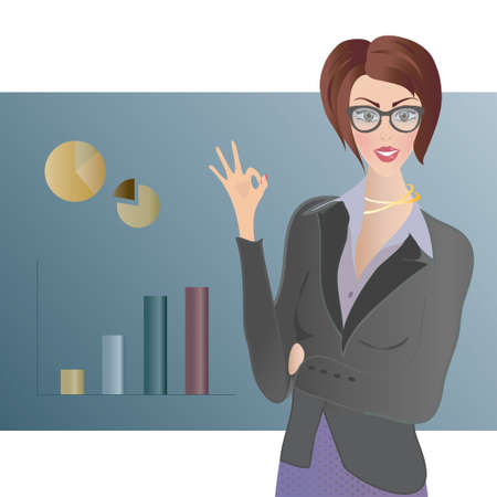 Business Woman showing Ok Sign  Info graphic showing growth Vector