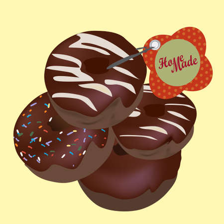 Chocolate Donuts  Vector Homemade Doughnuts with Tag Vector