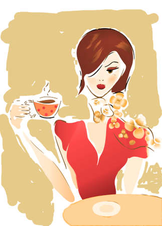 Girl with Coffee Cup or Tea  Illustration of a Woman in a Cafe