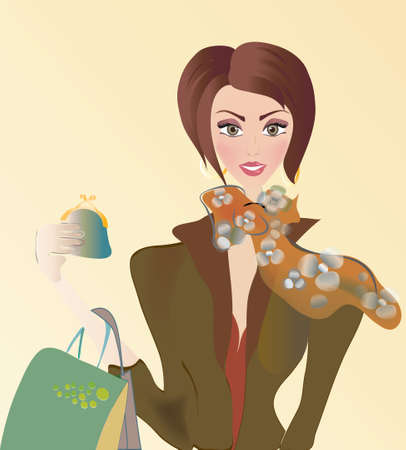 Vector of a Woman on Shopping with Bags  Sale Season