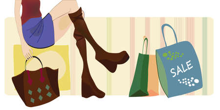 leather skirt: Vector of a Woman on Shopping with Bags and Boots  Sale Season