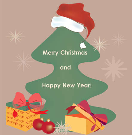 Christmas Card with Present with Golden Ribbon  Vector of a gift Box and Christmas Tree Illustration
