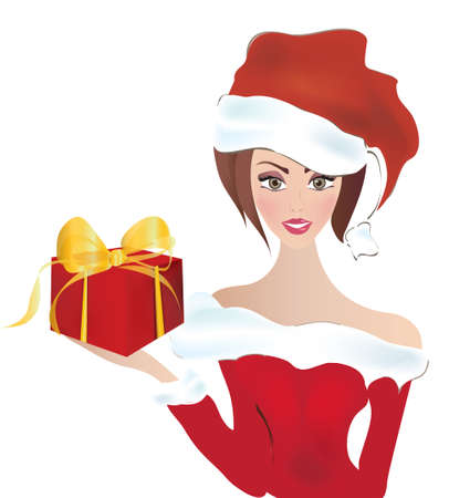 Santa Claus Girl  Miss Santa With a hat and Present in A Red Box Vector