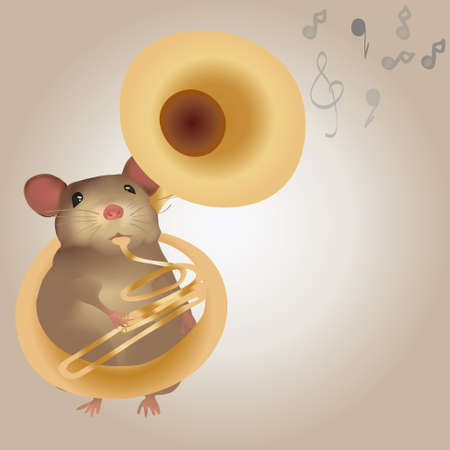 band instruments: Illustration of a Mouse Playing on Tuba  Brass band Instruments Illustration