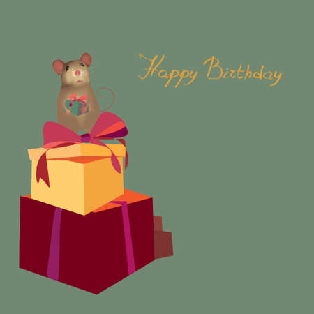 b day: Happy Birthday Card with Present boxes and mouse holding gift