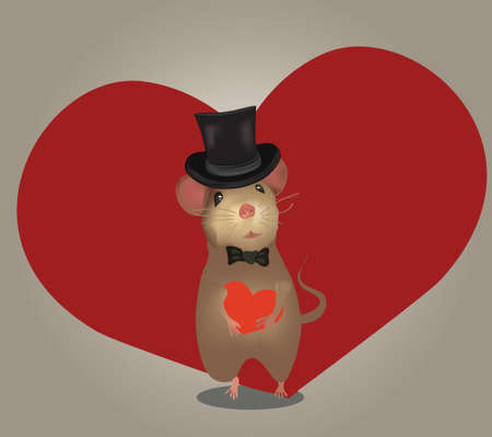 Love Card or Wedding Invitation  Greeting card with  mouse and heart  Valentine s Day Vector
