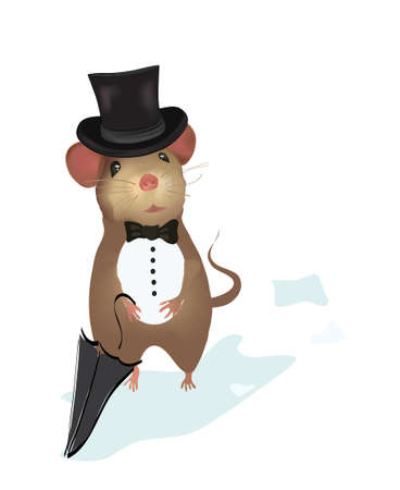 Mouse Gentleman   Illustration of a mouse with umbrella Stock Vector - 24913216