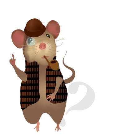 Mouse  of a Detective with Pipe and Monocles Illustration