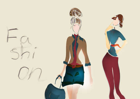 back belt: Illustration of a Young Girl  Fashion sketch