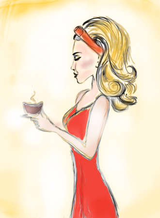 Beautiful Woman with a coffee cup  Retro Blond Girl photo