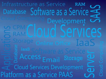 Cloud Services  IAAS, PAAS, SAAS Virtual Concept Illustration