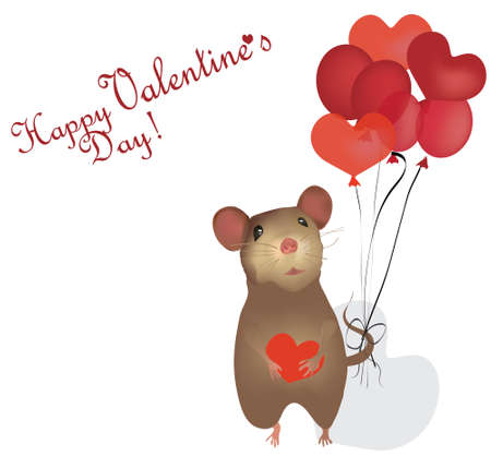 st valentin: Valentine s Day Card  St  Valentine Day with mouse and Heart Balloons