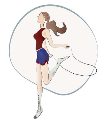 Woman with jumping rope in a fitness gym Illustration