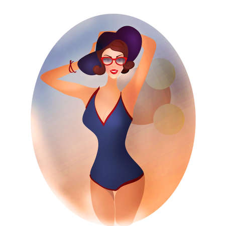 Retro Woman in Swimsuit with hat photo