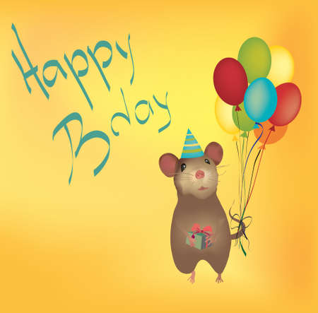 b day gift: Happy Birthday Card with Balloons and mouse holding gift