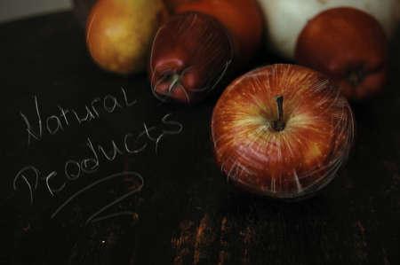 Paire, Apple et d'autres fruits à poster des photos de style rétro Banque d'images - 26046998