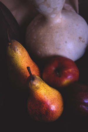 Pair, Apple and other fruits in retro style poster pictures photo