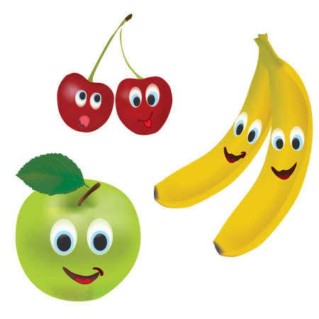 3D Conjunto de Vector Frutas Manzana, Plátano y Cerezas con expresiones faciales