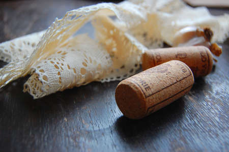 Cork, Lace, Wood  and Garlic photo