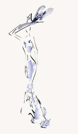 cappelli: Bella Donna Ritratto vettoriale di una ragazza con il vestito da cocktail Vettoriali