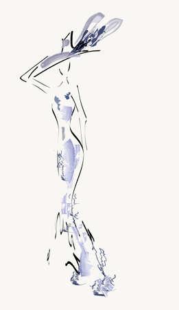 bocetos de personas: Hermosa mujer Vector Retrato de una niña con vestido de cóctel Vectores