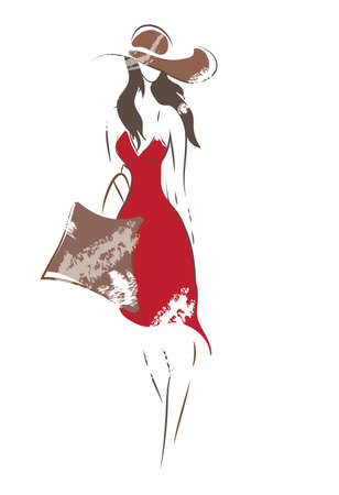 Fashion Woman Sketch  Vector of a Girl with bag and hat on shopping Vector
