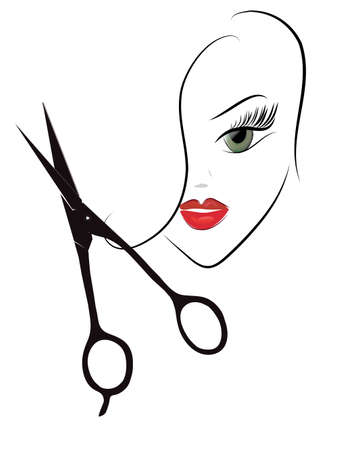 Beauty Woman Head and Scissors  Hairdresser Profession Shop Vector