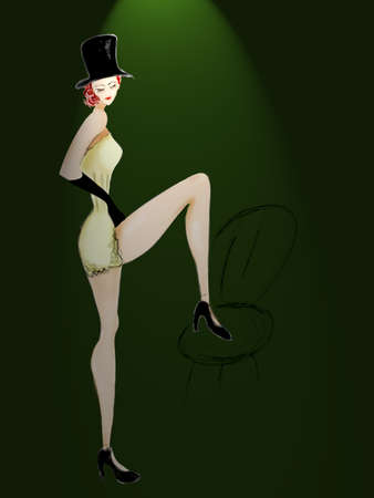 Beautiful cabaret girl with a chair