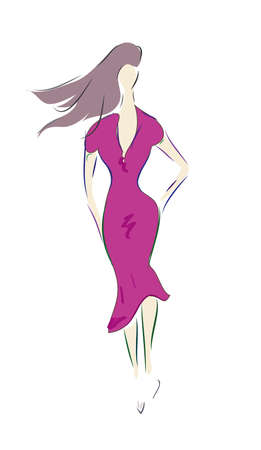 Fashion Design Sketch of a Model with a  Dress  Illustration