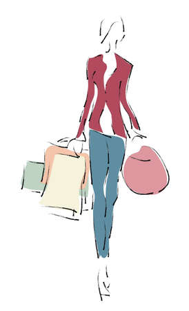 Woman on Shopping with Bags  Sale Season Vector
