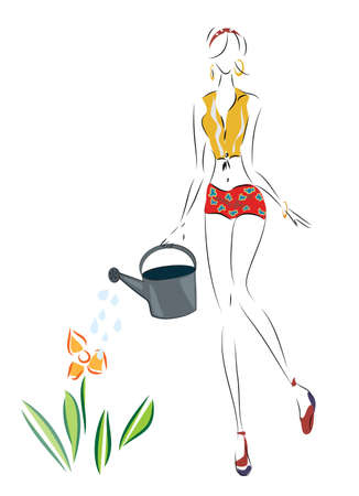60's: Illustration of a Woman pour on a flower with water can Illustration
