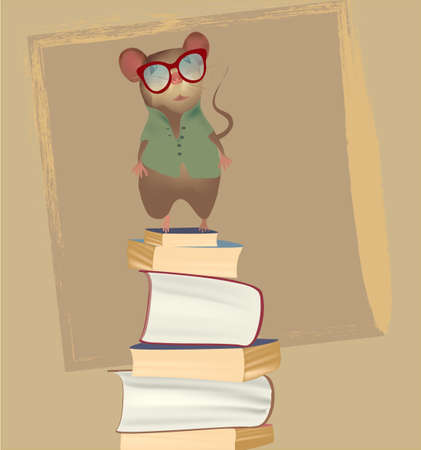 Mouse on a pile of books  Vector  Illustration