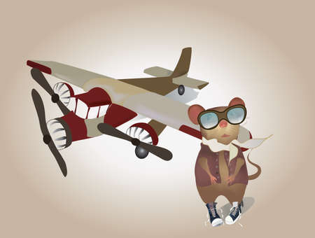 Cartoon Pilot Mouse in uniform with Plane Vector