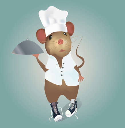 Mouse Chef with Hat and Plate  Illustration  Vector