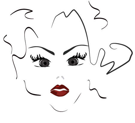 Beautiful Woman Portrait of a Girl Face Vector