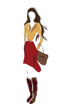 Woman in fashion clothes and bag  Vector