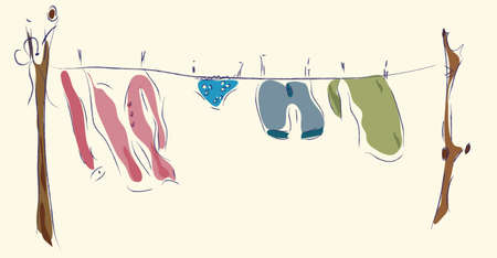 laundry line: L�nea de lavander�a secado de ropa exterior Vectores