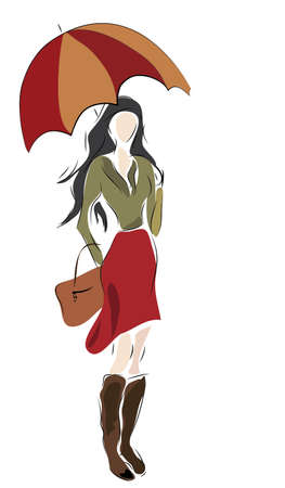 Woman with umbrella and bag  Girl in fashion clothes Vector